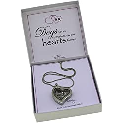 """Dog Lover Memory Locket Necklace With Swarovski Crystal Floating Charms 18"""" Chain Gift Boxed"""