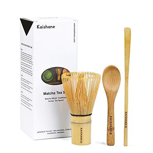 KAISHAN - Juego de 3 batidores de té janés de bambú, incluye batidor de 100 dientes (Chasen), cuchara tradicional (Chashaku), cuchara de té – esencial para los amantes del té verde