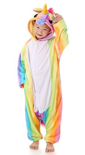 Halloween Kinder Kostüme Party Stadt (Dingwangyang Unisex-Kinder Einhorn Pyjama Halloween Tier Cosplay Kost¨¹m Kigurumi Regenbogen Pegasus)
