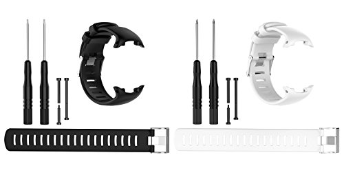 Pour Suunto D4/D4i Novo Sangles de remplacement, Chofit doux Sport élastiques Sangles de remplacement en silicone pour Suunto D4/D4i Novo montre, noir/blanc