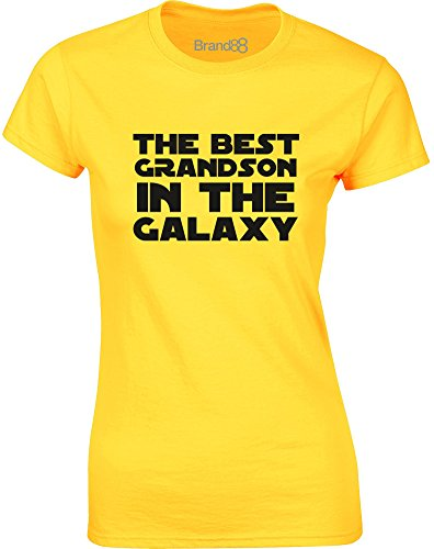 Brand88 - The Best Grandson in the Galaxy, Gedruckt Frauen T-Shirt Gänseblümchen-Gelb/Schwarz