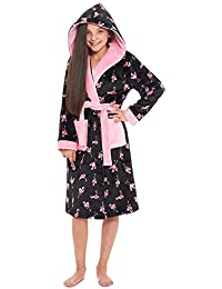 Slumber Hut® Flamingo Girls Fleece Dressing Luxury Velvet-Softness Hooded  Childrens Novelty Animal Print Robe… 84fe85794