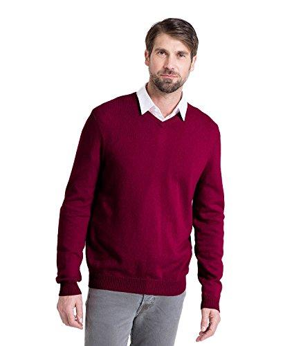 Wool Overs Pull homme col V en cachemire mérinos Burgundy