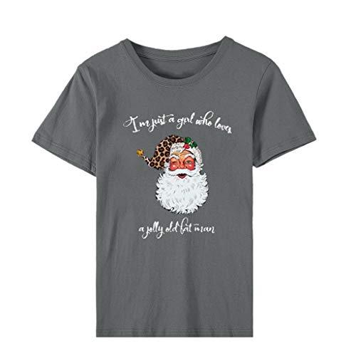 Xmiral T-Shirt Damen Rundhals Buchstabe Muster Drucken Tops Weihnachten Große Größe Bluse Urlaub Niedlich Sweatshirts Hemden(c Grau,XXL)
