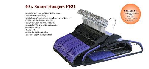 Smart-Hangers PRO -- platzspar - gummierte antirutsch Kleiderbügel (40er Pack, Schwarz / Violett)