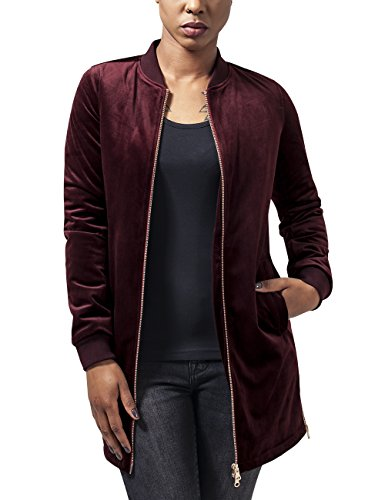 Urban Classics Damen Jacke Ladies Long Velvet Jacket, Rot (Burgundy 606), 42 (Herstellergröße: XL)