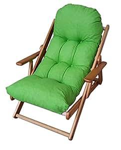 Fauteuil relax 3 positions en bois pliable coussin Fauteuil de bureau position relaxation