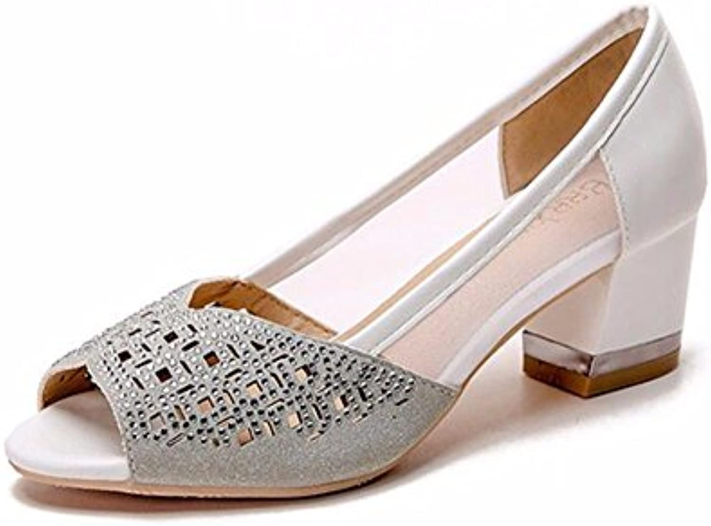 d5904449dadc GTVERNH Women s Shoes Fashion Sandals Girls Girls Girls Middle Heels Summer  Mom Shoes Water Drill Net Gauze 5Cm High Heel... B07DZ4G9Y8 Parent 091106