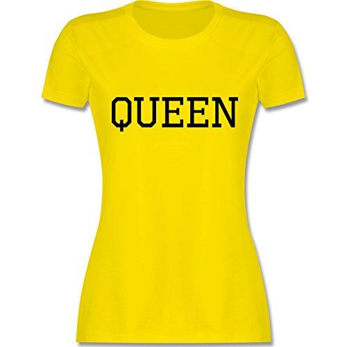 PartnerLook Pärchen Damen Queen Schwarz tailliertes Premium TShirt mit  Rundhalsausschnitt für Damen Lemon Gelb