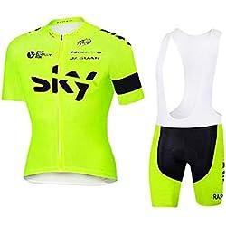 ZCFXJiTuanYZ Sky Hombres Traje de Jersey para Deportes al Aire Libre Ropa Deportiva para Ciclismo Jersey de Manga Corta + Pantalones Cortos Transpirables de Secado rápido Primavera/Verano/Otoño,YJ06
