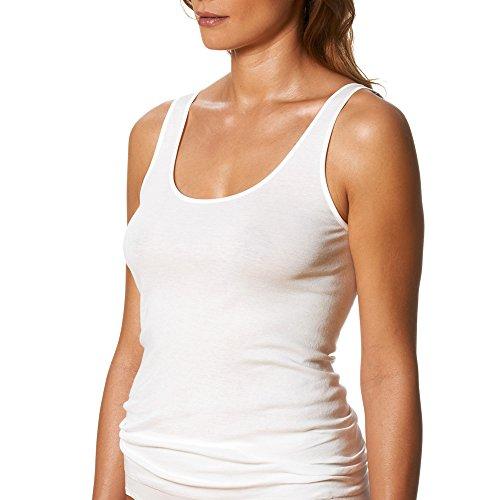 2er Pack Mey Damen Sporty-Hemden - Noblesse - 25102 - Weiß - Größe 42 - Saumfreie Damen-Unterhemden - Top ohne Seitennähte (Top Pima-baumwolle)
