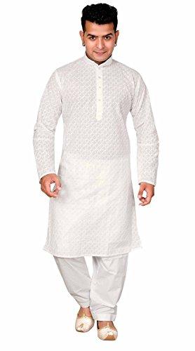 Herren weiß einfach Baumwolle Sherwani Indian Kurta Shalwar Kameez Pyjama 729 - Weiß, 44 (XXL - UK) -
