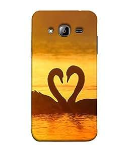PrintVisa Designer Back Case Cover for Samsung Galaxy J3 (6) 2016 :: Samsung Galaxy J3 2016 Duos :: Samsung Galaxy J3 2016 J320F J320A J320P J3109 J320M J320Y (lovely couple bird water golden)