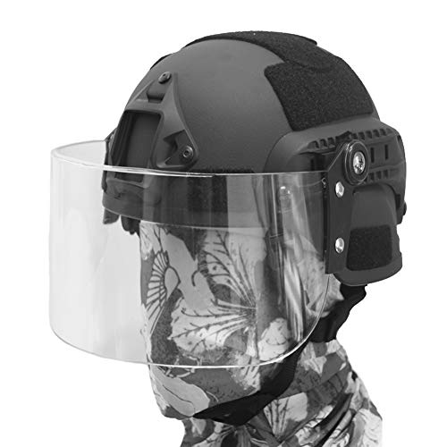 QZY Mich 2000 Tactical Helmet Mit Transparent Riot Protection Mask, SWAT Combat PJ Type Fast Helmet Für CQB Shooting Airsoft Paintball Face Protection,Black -