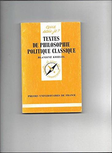 Textes de philosophie politique classique