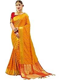 Ethnicjunction Women's Silk Cotton Saree With Blouse Piece (Ej1175-1004M_Gold)