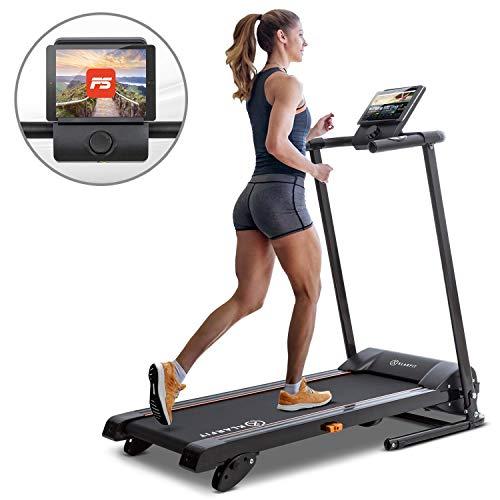 Klarfit Treado Advanced 2.0 Laufband klappbar 36cm breite Lauffläche und Steigung selbstschmierend und leise (10 Km/h-, Kalorienzähler, Pulssensor, Bluetooth App)