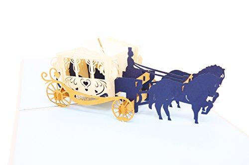 PopLife Cards Märchen Popup-Grußkarte der Wagen 3d für alle Gelegenheiten Prinzessin Thema, Glaspantoffel, königliches Märchenbuch faltet sich flach für das Versenden von Geburtstagsfeiern, danke, Ja (Thema Prinzessin Hochzeit)