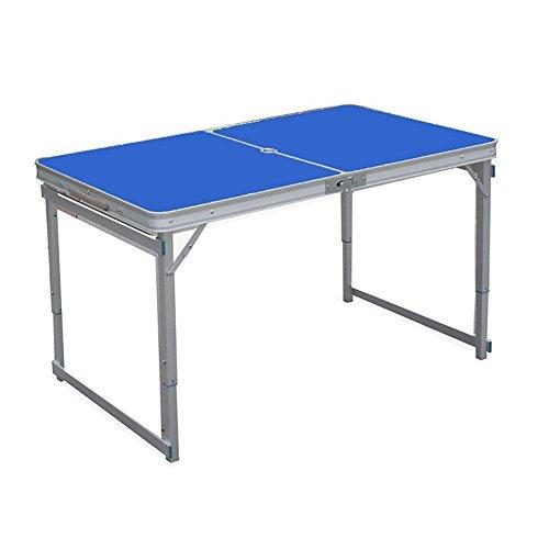 JU FU Outdoor-Klapptisch aus Holz - Stuhl-Set - Camping mit Sonnenschirmen und Kissen und höhenverstellbar - Bein Holz/blau / Klapp ESS-und Kaffee-und Couchtisch   (Farbe : Table)