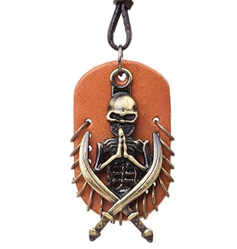 Fengteng Herren Leder Halskette Anker Ruder Schädel Kreuz von Jesus Klaue Handknochen Ahornblatt Friedenszeichen Scorpions Piraten der Karibik Gewehr Feder Schlüssel Handschellen Cowboy Hut (Piraten der Karibik)