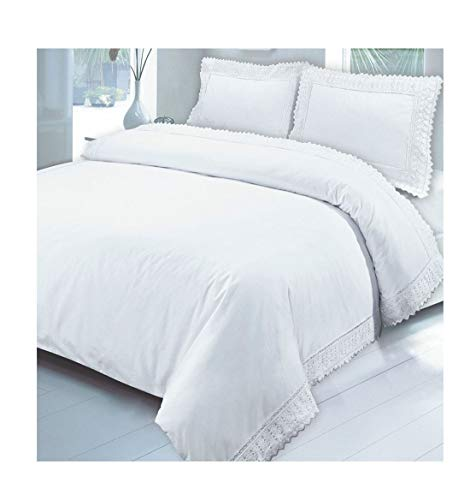 MA ONLINE Luxuriöses Bettwäsche-Set aus 100% ägyptischer Baumwolle, Stickerei, Spitze, für Einzel-, Doppel- und King-Size-Betten, White Single, Einzelbett-Größe