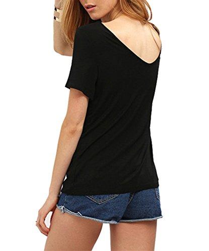 DoubleYI Damen Sommer Oberteil Kurzarm T-Shirt V-Ausschnitt Bluse Shirt Tops Schwarz