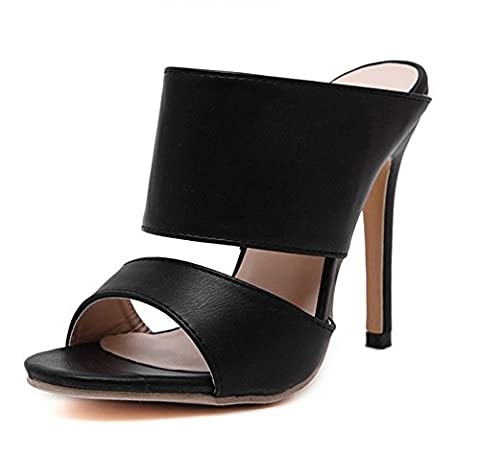 Aisun Damen Offene Zehe Stiletto Fashion Mules Stiletto Sandalen Schwarz