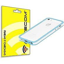 322c9999d8e cogac ACTECOM® Funda Bumper para iPhone SE 5 5S Blanco Bordes CELESTES  Carcasa Protectora
