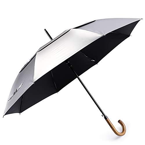 G4free - ombrello classico da 52 pollici, protezione dai raggi uv, apertura automatica, doppia tettoia, extra large, antivento, ombrello da sole, pioggia, con manico in legno, nero