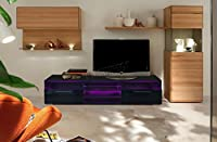 FoxHunter Modern High Gloss Matt TV Cabinet Unit Stand Black RGB LED Light Home Furniture TVC11 146cm
