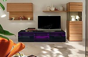 FoxHunter Modern High Gloss Matt TV Cabinet Unit Stand Black RGB LED Light Home Furniture TVC11 146cm