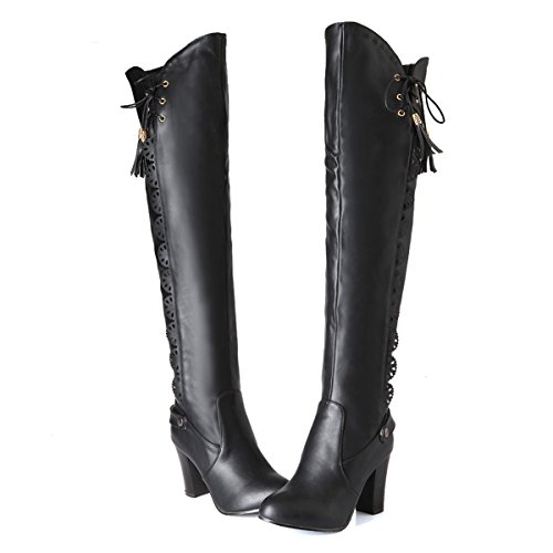 YE Damen Retro High Heels Spitze Plateau Overknee Langschaft Stiefel mit Blockabsatz Schnürsenkel Schuhe Schwarz