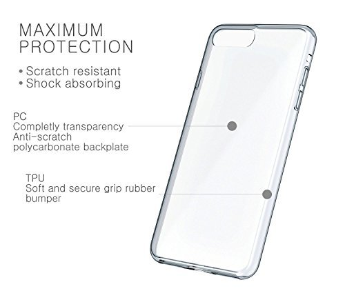 detailed pictures a9a0c 5fce9 iPhone 7 Plus Case, Bomea iPhone 7 Plus Clear Case Super Slim Protective  Shell Bumper Cover TPU Trim with Transparent Scratch Resistant Hard Back ...