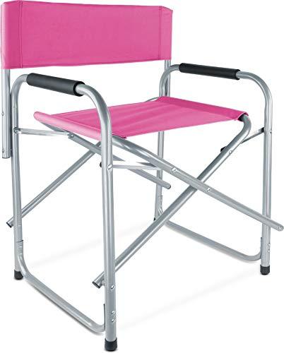 normani Regiestuhl Campingstuhl faltbar bis 150 Kg, Stahl mit gepolsterten Armlehnen Farbe Pink