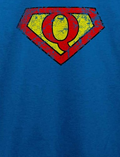 Q Buchstabe Logo Vintage T-Shirt Royal Blau
