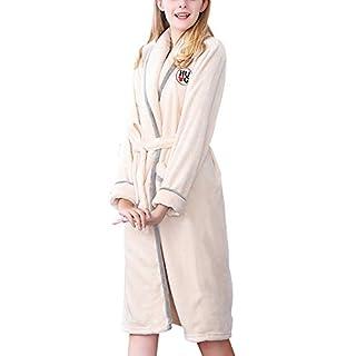 Anyu Mens and Ladies Bathrobe Dressing Gown Bath Long Sleeve Robe Beige XL