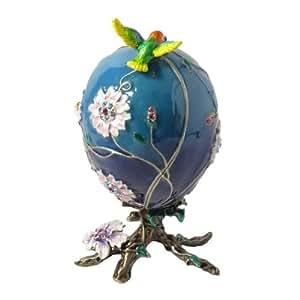 Floral bleu Oeuf avec nid d'oiseau Boîte à bijoux avec cristaux Swarovski