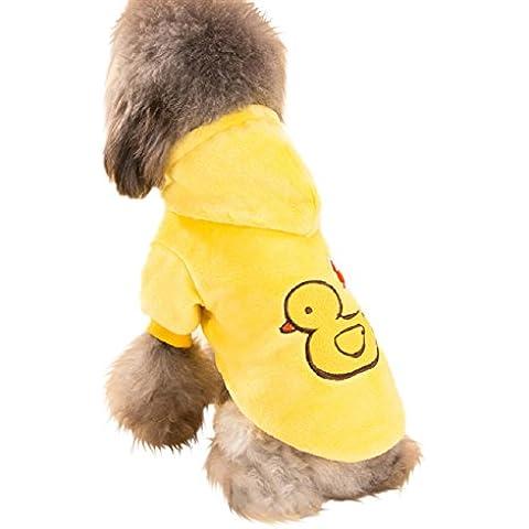 Fandecie Pet Codice di Abbigliamento del Fumetto Abbigliamento Invernale Cappotto Cane Giallo Flanella di Lana