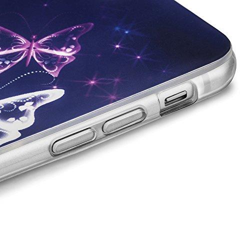 tinxi® Silikon Schutzhülle für Apple iPhone 6 Plus/6s plus 5.5 zoll Hülle Silicon Rückschale Cover Case Etui lila Schmetterling lila Schmetterling