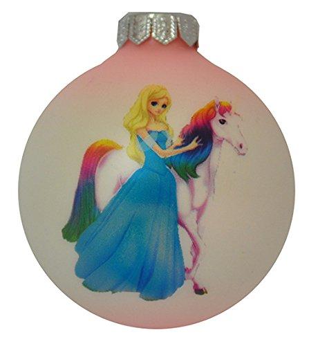 Pannonia Dekor Christbaumkugel aus Glas 8 cm mit Eine wunderschöne Prinzessin mit Einem Einhorn