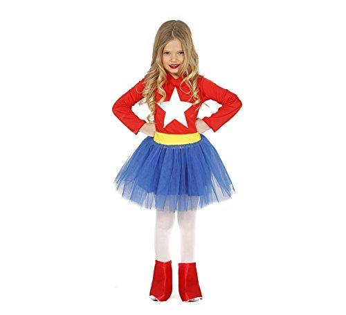 Guirca Superheldin Kostüm für Mädchen Gr. 98-146, - Kind Größe Wonder Woman Kostüm