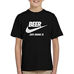 Coto7 Beer Just Drink It Nike Logo Kid's T-Shirt