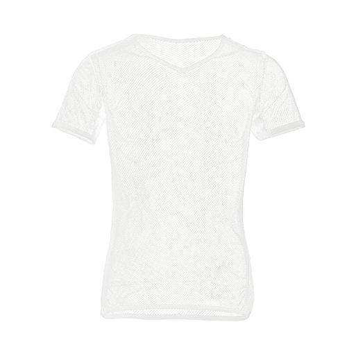 Mesh-muskel-shirt (Freebily Herren Netzhemd Männer Hemd Tansparent Mesh Shirt Unterhemd Wetlook Top Muskelshirts Slim Fit Clubwear Underwear Weiß XL)