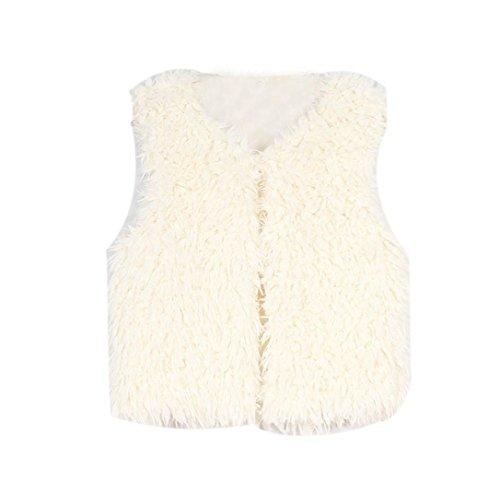 Baby Mädchen Faux Pelz Weste Hirolan Kinder Herbst Winter Dick Mantel Warm Outwear Mode Ärmellos Weste Prinzessin Party Sweatjacke Kleider 3-8Jahre alt Oberbekleidung (120cm, Beige) (Set Weste 4 Stück)