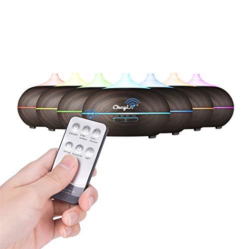 CkeyiN-550ml Diffusori Oli Essenziali Umidificatore ad Ultrasuoni Elettrico, Spegnimento Automatico, 7 luci LED, 4 modalità a Regolare Tempo e Telecomando, prefetto per Camera, Yoga, Spa,