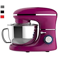 Heska- 1500W Food Stand Mixer - 4-in-1 Beater/Whisk / Dough Hook/Flex Edge Beater - 5.5 Litre Mixing Bowl with Splash Guard (Pink)