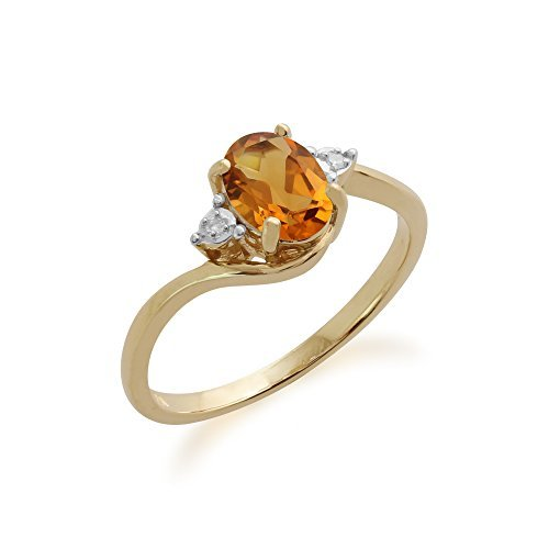 GEMONDO CITRINO ANILLO  9CT ORO AMARILLO 0 71 CT CITRINA Y DIAMANTE ANILLO