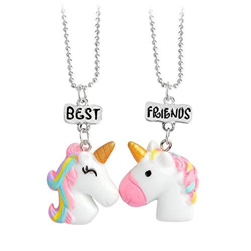 Aisoway 1 Set unicornio collares pendientes para Niños Niños y niñas de los mejores amigos Collar de la amistad joyería de la cadena