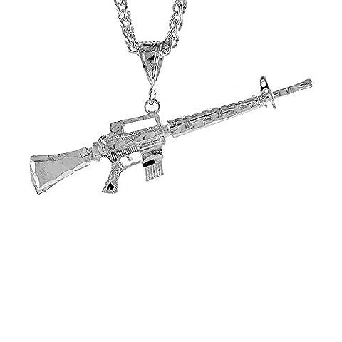 Sterling Silber 5/20.32 cm (16 mm) Mit Anhänger Sturmgewehr Diamantschliff M-16