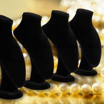 Amz - espositori per collane, rivestimento vellutato, 4 pz, colore: nero